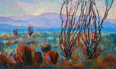 Anza-Borrego California desert oil painting of Ocotillos in bloom, by Erin…