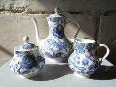 Rare Villeroy Boch tea set Paradiso pattern, blue birds and flowers, antique tea or coffee set, teapot, sugar pot, creamer.