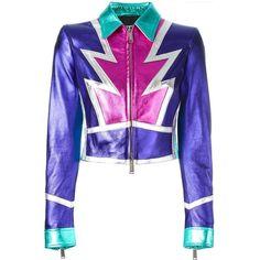 Dsquared2 glam panelled leather jacket (162.610 RUB) ❤ liked on Polyvore featuring outerwear, jackets, punk jacket, print jacket, long sleeve crop jacket, white jacket and cropped jacket