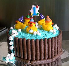 Funny Duck Swimming  1st Birthday Cupcakes Boy - Use J/K to navigate to previous and next images
