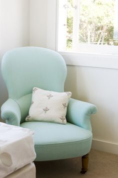 tiffany blue chair, just need it in a baby blue color for my bedroom- perfect shape