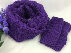 Purple #Fingerlessglove and scarf set womens #handknit caron simply soft
