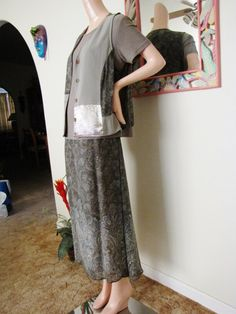 Maxi Skirt Blouse Vest Set, Vintage Carole Little Sage Green Long Floral Dress, Patchwork Vest, XL Maxi Skirt Set,  3 Piece #maxiskirt #carolelittle #skirtset