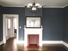 Foggy Day Sherwin Williams paint color - Alcira Campos - Re-Wilding Blue Paint Colors, Favorite Paint Colors, Room Paint Colors, Interior Paint Colors, Paint Colors For Home, Wall Colors, Red Family Rooms, Family Room Colors, Family Room Design