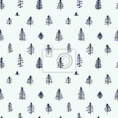Jednoduché kreslených bezešvé modely s roztomilou stromy na obrazech myloview. Nejlepší kvality fototapety, nálepky, obrazy, plakáty. Chcete si vyzdobit svůj domov? Pouze s myloview!