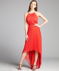 Phoebe Couture : papaya pleated halter sleeveless party dress : style # 322276801 - love the hi-lo skirt