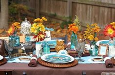 turquoise silver orange thanksgiving - Google Search