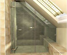 master shower? Need to accomodate a sloped ceiling (right) and a window (beyond left side) it just might work!!!