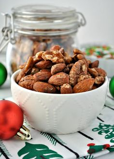 These Quick and Easy Gingerbread Spiced Nuts are a perfect hostess gift, holiday appetizer, or Christmas snack!