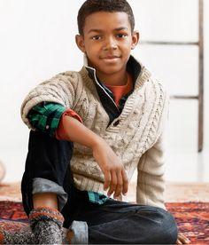 H & M Kids#h&m#sweterek z warkoczami bezowy#ch