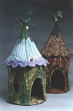 Quilted Fairy Houses-made from fabric. How wonderful for some lucky child for their fairy friend that lives indoors