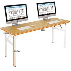 """Need Computer Desk 55"""" Office Desk Folding Table Computer Table Workstation No Install Needed, Teak&Black AC5BB-140-CA: Amazon.ca: Home & Kitchen"""