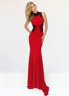 Sheath/Column High Neck Sweep Train Jersey Evening Dress With Appliques Lace