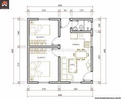 Two Bedroom - 36 sq m. Good sound separation for bedrooms. Location for washer/dryer? Perhaps restructure for single entrance and move windows so that two sides are closed for apartment/condo replication. 2 Bedroom House Plans, Cabin House Plans, Apartment Layout, Apartment Plans, Small House Floor Plans, Compact House, Room Planning, Small House Design, Architecture Plan
