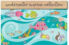 Set of sea creatures illustrations. by marina.sadovnikova on @creativemarket