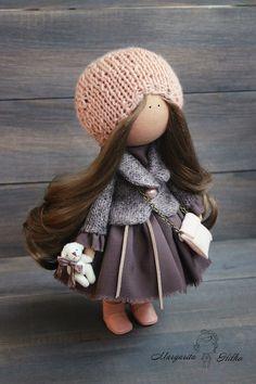 Art doll handmade peach brown color Collectable doll House doll Home doll Decor… Doll Home, New Dolls, Waldorf Dolls, Soft Dolls, Fabric Dolls, Beautiful Dolls, Baby Dolls, Doll Clothes, Textiles