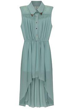 Asymmetric Hollow-out Green Dress