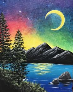 Check out Mystic Midnight at Cork N Keg (Raymond) - Yaymaker Oil Pastel Paintings, Oil Pastel Drawings, Pastel Art, Easy Canvas Painting, Moon Painting, Canvas Art, Landscape Drawings, Landscape Art, Landscape Paintings