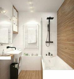 Ideas For Bathroom Wood Tile Shower Cabinets Wood Tile Shower, Wood Bathroom, Bathroom Colors, White Bathroom, Bathroom Canvas, Natural Bathroom, Bathroom Closet, Restroom Design, Bathroom Interior Design
