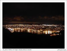 Night time view of St. John's as seen from Signal Hill. One of my favorite sights. Newfoundland And Labrador, Newfoundland Canada, Signal Hill, Beautiful Places In The World, Beautiful Islands, Night Time, The Rock, Places To Travel, St John's
