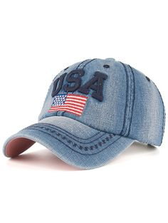 $5.99 Outdoor Letter and American Flag Embroidery Denim Baseball Hat
