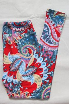 LuLaRoe-Leggings-TC-Tall-and-Curvy-Red-Paisley-Unicorn-NEW