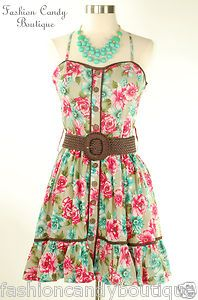 FASHION FLORAL BEACH SUMMER SUN DRESS WITH BELT SIZES S.M.L juniors