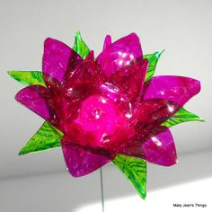 Upcycled  Pink Fantasy Flower Made of Plastic Water Bottles