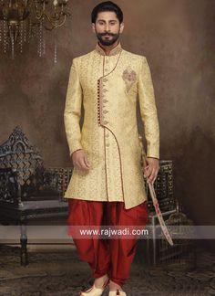 Golden Brocade Silk Sherwani... Mens Sherwani, Sherwani Groom, Wedding Sherwani, Wedding Kurta For Men, Wedding Suits, Designer Suits For Men, Indian Designer Wear, Indian Man, Indian Groom