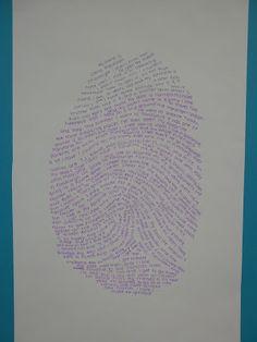 "The Calvert Canvas: Adventures in Middle School Art!: Typographic Thumb Print ""Self Portraits"""