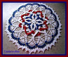 Linda Crochets: Patriotic Rosette Doily