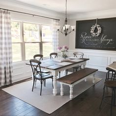 Casual Dining Inspo | Gingham Curtains | Farmhouse Table | Aff | Etsy