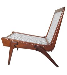Clara Porset or Pachi de Rehil; Mahogany and Cord Lounge Chair, 1950s.