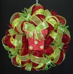 Red Lime Green Christmas Wreath Poly Mesh Deco by wreathsbyrobin, $65.00