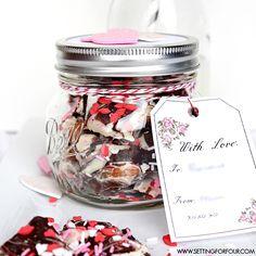 Easy to make Mason Jar Valentine gift! Chocolate Bark in a Mason Jar with FREE vintage blossom printable gift tag! www.settingforfour.com