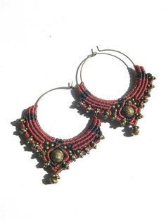 Macrame Tribal Hoops redbrown Bellydance antique by MagicKnots, €22.00