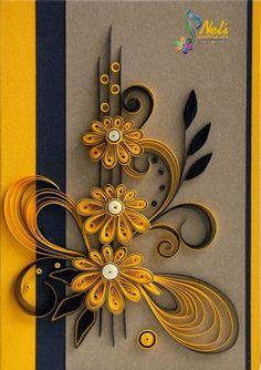 neli: Quilling card cm- cm/ Interesting color combo: black & yellow on gray! Neli Quilling, Quilling Jewelry, Paper Quilling Cards, Paper Quilling Flowers, Quilling Work, Paper Quilling Patterns, Origami And Quilling, Quilled Paper Art, Quilling Paper Craft