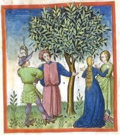 Fancy man and fancy woman in green talking to unadorned man and woman in blue. Men conversing with men; woman talking to other woman. Olives...