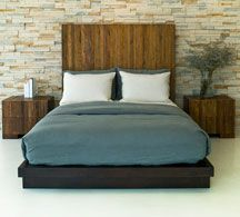 Reclaimed wood bed. Another sleek and sexy platform bed that is Eco conscious.