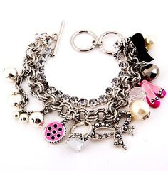 Crystal Charm Bracelet Pink Shoe Ring Pearl Bow Mirror Beads