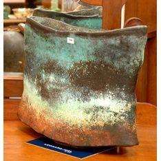 Jeff Mincham  South Australia circa 1998,  earthenware naturalistic shaped vase, black, green and rust toned glaze.