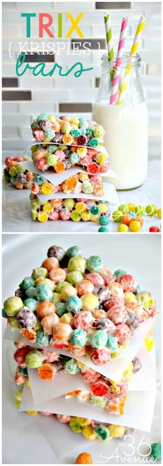 Trix Krispies - White Chocolate Rainbow Bars - It's like Rice Krispies with an explosive fruity delicious flavor!