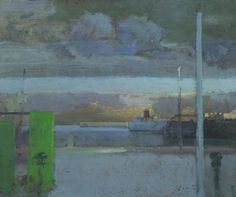 Frederick Cuming, Folkestone Harbour, Rainclouds, Evening, Oil on board, 19x23 cm