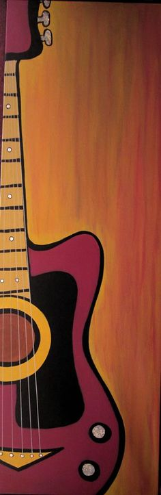 """Guitar Resonance"" Acrylic on Canvas 12 x 36 https://www.facebook.com/dyane.stpierre.1"