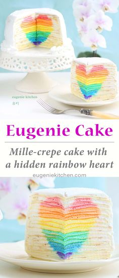 Mille Crepe Cake with Hidden Rainbow Heart - Eugenie Cake