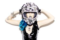 Highway to Hellmet by Deryck Todd is a full functioning motorcycle helmet, customized with giant Swarovski crystals, metal chains and spikes. You are going to stop traffic with this piece.