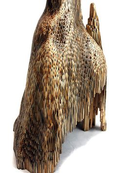 Jessica Drenk Formation (detail)  wood pencils, glued together and sanded view of 2 feet of 4 foot tall piece 2012