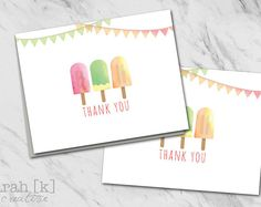 Popsicle thank you notes. Perfect for a summer party, birthday party, ice cream social.