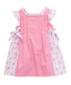 Take a look at this Petit Confection Hot Pink Floral Color Block Tie-Accent Dress - Infant & Toddler today! Frock Patterns, Girl Dress Patterns, Frocks For Girls, Kids Frocks, Cute Girl Dresses, Little Girl Dresses, Frock Design, Toddler Girl, Infant Toddler