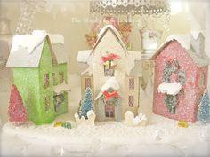 Shabby Xmas Chic Glitter Lit Putz Village Home Vintage Houses Lights